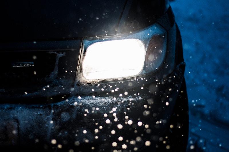 an car in snow