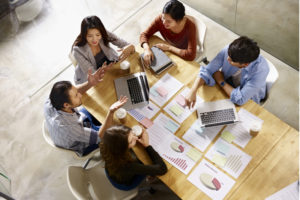 Group working in small office