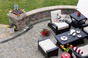 patio furniture in the backyard