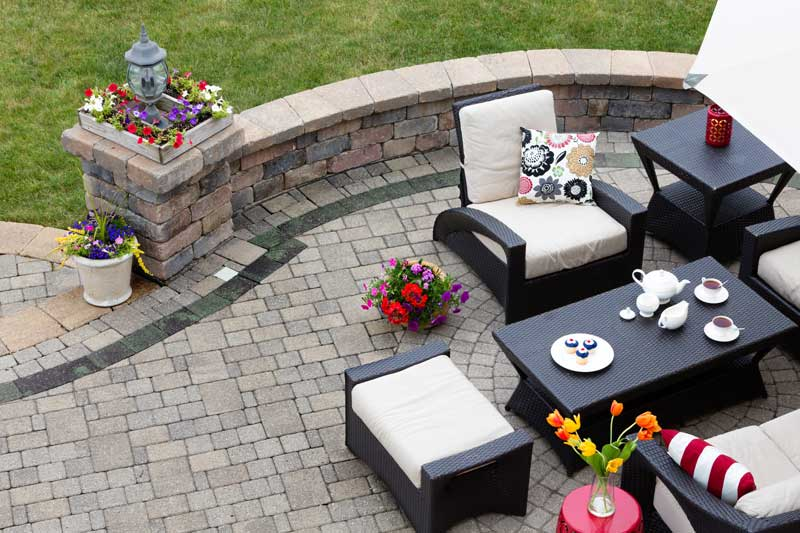 patio furniture in the backyard